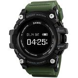 Outdoor Multifunctional Watch Exercise Step Counter Heart Rate Monitoring Exercise Mileage Synchronized Weather Call Reminder Gift for Outdoor Lovers Beige-Army Green