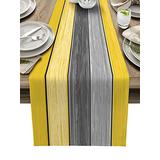 """Table Runner for Kitchen Farmhouse Table Runner Dresser Scarves 13""""x90"""" - Vintage Farm Wood Grain Yellow and Gray Gradient Table Runner for Dining Room, Parties, Wedding, Holiday Decor Easy to Clean"""