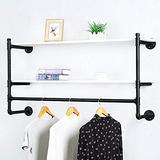Industrial Pipe Clothing Rack Wall Mounted with Real Wood Shelf,Rustic Retail Garment Rack Display Rack Cloths Rack,Pipe Shelving Floating Shelves Wall Shelf,48in Steam Punk Commercial Clothes Racks