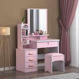 Mirror Desk, Vanity Table Set with Large Mirror, Modern Makeup Vanity Dressing Table Stool Set with 4 Drawers and 3 Shelves for Bedroom, Makeup Desk Set for Girls and Women, 【US Fast Shipment】 (Pink)