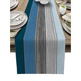 """Table Runner for Kitchen Farmhouse Table Runner Dresser Scarves 13""""x90"""" - Retro Farm Wood Grain Blue and Gray Gradient Table Runner for Dining Room, Parties, Wedding, Holiday Decoration Easy to Clean"""