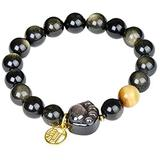 FLYAND Natural Silver Wealth Bracelet Prosperity Feng Shui Cat Paw Vietnamese Gold Auspicious Totem Lucky Charm Crystal Stretch Bangle Attract Love Popularity Good Luck Money
