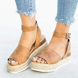 haoricu Wedges Sandals Womens Espadrilles Sandals Flats Summer Ankle Strap Studded Open Toe Sandal High Heel Shoes