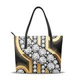 Women'S Soft Leather Tote,Gold Dollar Sign Printed Waterproof Shoulder Bag,Big Capacity Travel Shopping Bag