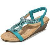 Womens Open Toe T-Strap Wedges Sandals Elastic T-Strap Ankle Strap Bohemia Beaded Platform Dress Shoes