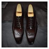Battle Men 5-Eye Lace up Oxford for Men Vintage Genuine Leather Wingtips Pointed Toe Shoes Block Heel Solid Color Oxfords Formal Men (Color : Coffee, Size : 6 M US)