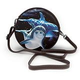 Small Cross Body Bag Dolphin Black Printed Purse With Chain Strap For Women, Fashion Circle Cellphone Round Purse