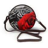 Small Cross Body Bag Black White And Red Roses Printed Purse With Chain Strap For Women, Fashion Circle Cellphone Round Purse