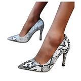 QBQCBB Women's Evening Dress & Party High Heels Snake Print High Heels Pointed Toe Pumps Wedges Dress Sandals Black