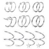 CASSIECA 8 Pairs Stainless Steel Cartilage Hoop Earrings for Women Men Tragus Helix Cuff Piercing Sleeper Clicker Nose Rings Ear Climber