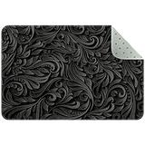 Non Skid Rug Nursery Rug Rectangle Area Rugs Rug entryway Indoor Rectangle Bedroom Rug Abstract Black Floral 35x24in