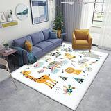 Woodland and Jungle Tribal Animals Isolated Set Collection with Area Rugs Non-Slip Floor Mat Doormats Home Runner Rug Carpet for Bedroom Indoor Outdoor Kids Play Mat Nursery Throw Rugs Yoga Mat
