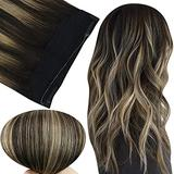 Fshine Invisible Human Hair Extensions Hidden Hair Crown Hairpieces 16 Inch Headband Hair Extensions Human Hair Black Fading to Caramel Blonde 80Gram One Piece Invisible Crown Hair Piece Extension