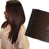 """iLUU Party Clip in Synthetic Hair Extensions Heat Resistant Synthetic Hair Extensions on Double Weft Hair Extensions 24""""/100g Long Straight #6A Light Golden Brown 5 Clips in Hair Extensions"""