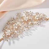 AW BRIDAL Wedding Headpieces for Bride Rhinestones Bridal Headpieces for Wedding Hair Pieces Pearl Bridal Headband Hair Accessories for Women Girls (Gold)