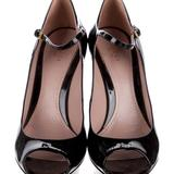 Gucci Shoes | Gucci Black Patent Leather Peep Toe Mary Janes | Color: Black | Size: 8.5