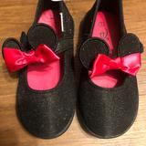 Disney Shoes | Minnie Mouse Girls Shoes Sz 7 Black Mary Jane Bows | Color: Black/Red | Size: 7bb