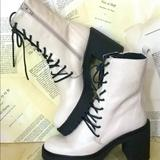 Free People Shoes | Free People Combat Boot White Distressed Leather | Color: Cream/White | Size: 41 10.511