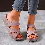 New 2021 Women's Wedge Sandals,Orthopedic Wedge Sandals Comfy Peep Toe Slides Sandals ,Casual Cross Roman Style Low-heeled Slope Heel Women Slippers