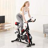 Exercise Bike,Indoor Cycling Bike Stationary Cycle Bike for Home Cardio Workout,Quiet Fitness Bike with Phone Holder/Heart Moniter/LCD Monitor (Black, US Stock)