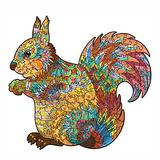 INOOY 200 Pieces Wooden Jigsaw Puzzle Unique Irregular Animal Shape Puzzle Pieces Educational Puzzle Gift for Adults and Kids,Colorful,Squirrel