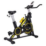 Cycling Bike,Indoor Stationary Exercise Bike for Home Office Gym Cardio Workouts,Belt Drive Flywheel Workout Bike Bicycle with LCD Monitor/Belt Drive/IPad Holder (Black, US Stock)