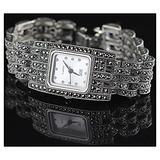 CHXISHOP Women's Bracelet Watch Quartz Movement Inlaid Diamond Square Dial Watch Business Bracelet Watch Retro Gothic Watch White-17cm