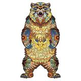 INOOY 200 Pieces Wooden Jigsaw Puzzle Unique Irregular Animal Shape Puzzle Pieces Educational Puzzle Gift for Adults and Kids,Colorful,Bear