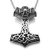 Feinny Stainless Steel Viking Necklace, Men Cross Thor's Hammer Amulet Jewelry, Nordic Celtic Knot Totem Pendant, 60cm Chain with Gift Bag