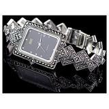 CHXISHOP 925 Sterling Silver Bracelet Watch Inlaid Crystal Diamond Retro Rectangular Dial Watch Quartz Movement Watch Women's Cuff Watch Black- 18.5cm
