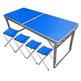 XKUN Folding Table Portable Portable Dining Table Simple Office Aluminum Table and Chair Blue Single Table,Blue (with Umbrella Hole) +4 Bench