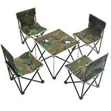 XKUN Folding Table Outdoor Portable Table and Chair Camouflage 3 Piece Lounge Chair Home Chair (2 Chairs 1 Table) Tote Bag 3 Sets (2 Chairs 1 Table + Handbag),5-Piece Set