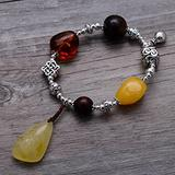 WOZUIMEI Chinese Style Silver Bracelet 925 Sterling Silver Jewelry Vintage Amber Beeswax Female Handmade Bracelet Summeryellow