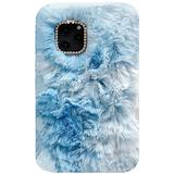iPhone4/4S Art Case, Handmade Fluffy Villi Angel Flower Color Wool Winter Warm Soft Cover, TAITOU Beautiful StunningLight Phone Case for Apple iPhone 4/4S Blue