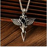 WOZUIMEI Chinese Style Pendant S925 Silver Personality Crusader Flower Black Agate Angel Wing Pendant Male Pendantblack