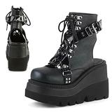 SaraIris Women's Black Platform Boots Slingback Lace Up Gothic Boots Punk Ankle Buckle Strap Black Motorcycle Boots