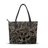 Women'S Soft Leather Tote,Boho Gold Lotus Flowers Printed Waterproof Shoulder Bag,Big Capacity Travel Shopping Bag
