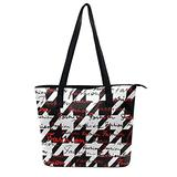 Lettering of Fashion Houndstooth Classic Hounds-tooth Pattern Black White Red Shoulder Tote Bag Beach Satchel Bags For Women Lady Travel Purses