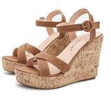 YGJKLIS Women Summer 11cm Slope Heel Sandals, Beach Sandals Open Toe Ankle Strap Heeled Sandal Cork Footbed Sandal (6.5,Brown)