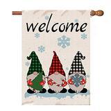 Fastty Gnomes Christmas Winter Garden Flag,Burlap Yard Winter Flag Double Sided,Winter Gnomes with Snowflake Farmhouse Outdoor Decor,Small Garden Flag