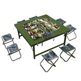 Outdoor Table and Chair Set Outdoor Portable Nine-in-one Table and Chair, Multifunctional Folding Camping Dining Table and Chair, Army Green self-Driving Dining Table