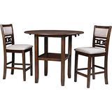 New Classic Furniture Gia Drop Leaf Counter Table Set with 2 Dining Chairs, 42-Inch, Cherry