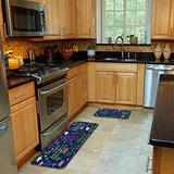 FOURFOOL 2 Pcs Kitchen Mat Set,Bohemian Floral Circular Pattern Ethnic Oriental Style Abstract Tattoo Non-Slip Kitchen Mats and Rugs Soft Flannel Non-Slip Area Runner Rug Doormat Carpet