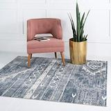 Rugs.com Oregon Collection Rug – 8 Ft Square Light Slate Blue Low-Pile Rug Perfect for Living Rooms, Kitchens, Entryways
