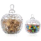 Candy Jar with Lids-Candy Containers Star Style Glass for Candy Buffet Decorative Jars Candy Buffet Dishes Cookie Jar for Home Party Wedding Display Pothecary Flour Trasparent, Small+Large, 10.6+30OZ