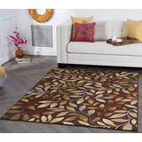 Katniss Brown 5x7 Rectangle Area Rug for Living Room - Bedroom, or Dining - Transitional, Floral