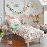 4 Pieces White Toddler Bedding Set Orange Floral Style - Includes Adorable Quilted Comforter, Yellow Fitted Sheet, Top Sheet, and Pillow Case for Girls Bed