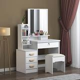 Large Vanity Table Set,Vanity Table Set Makeup Vanity Dressing Table with Mirror, 4 Drawers 3 Shelves, Bedroom Dresser Desk with Cushioned Stool Girls Women,Gift for Women, White (Ivory White)