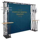 10 x 10 Trade Show Booth Backdrop Kit w/ 2 Truss TV Mounts & 3 Counte