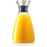 Latitude Run® 50 Oz Glass Drip-Free Carafe w/ Stainless Steel Flip-Top Lid, Hot & Cold Glass Water Pitcher, Tea/Coffee Maker & Cafe, Iced Tea